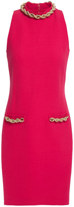 Moschino Chain-trimmed Wool-blend Crepe Mini Dress