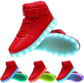 TUTUYU Kids 11 Colors LED Light Up Shoes High Top Fashion Flashing Sneakers 26