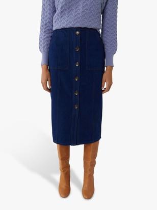 Warehouse Button Front Denim Midi Skirt, Dark Wash Blue