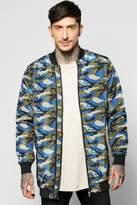 Boohoo Longline All Over Camo Multi Zip Jacket
