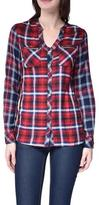 Point Zero V-Neck Plaid Button Down Blouse With Zippered Pockets