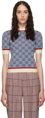 Gucci Blue Knit GG Sweater