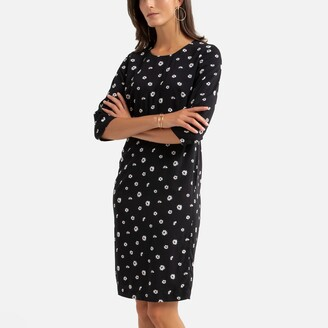 Anne Weyburn Mid-Length Shift Dress in Floral Print