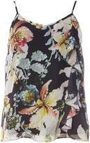 Dorothy Perkins Black Floral Print Ruffle Camisole Top
