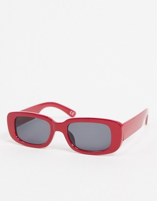 ASOS DESIGN mid rectangle sunglasses in red with black lens