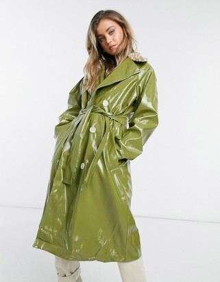 Daisy Street PU trench coat with deer faux fur collar