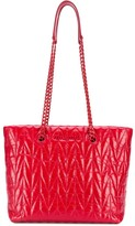Miu Miu quilted shiny leather tote