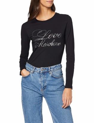 Love Moschino Women's Long Sleeve T-Shirt_Rhinestone Effect Silver Print Logo