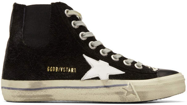 Golden Goose Black Suede V-Star 1 High-Top Sneakers