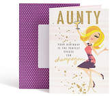 Marks and Spencer Dotty Daisy Champagne Aunty Birthday Card.