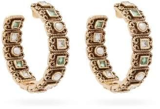 Jade Jagger Emerald, Diamond And Pearl 18kt Gold Hoop Earrings - Womens - Green