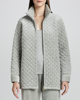Joan Vass Quilted Velour Long Jacket