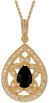 Giani Bernini Black Cubic Zirconia Openwork Pendant Necklace in 18k Gold-Plated Sterling Silver, Only at Macy's