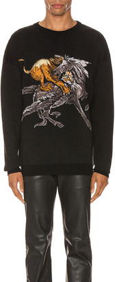 Givenchy Crew Neck Sweater in Black & Grey | FWRD