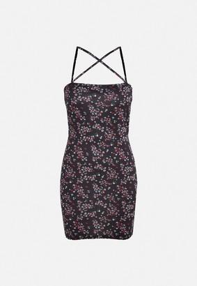 Missguided Black Floral Print Strappy Mini Dress