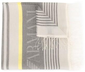 Emporio Armani Frayed-Edged Logo Scarf