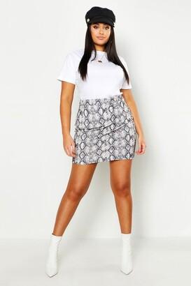 boohoo Plus Snake Print Mini Skirt