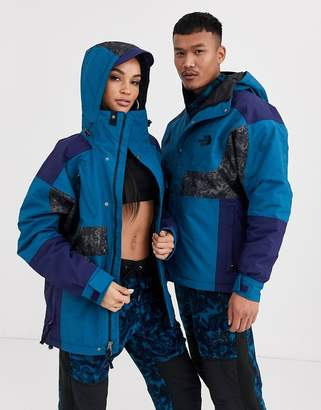 The North Face 94 Rage waterproof synth insulated jacket in blue coral/grey rage print