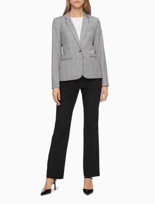 Calvin Klein Windowpane Twill Single Button Blazer