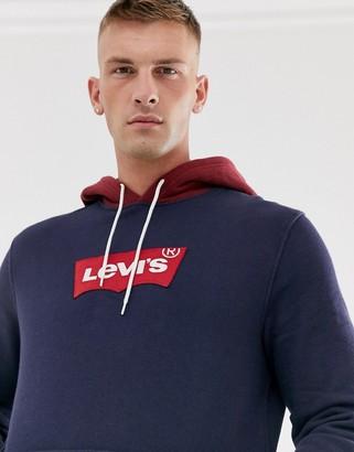 Levi's modern large batwing logo contrast hood sweatshirt in nightwatch blue/cabernet