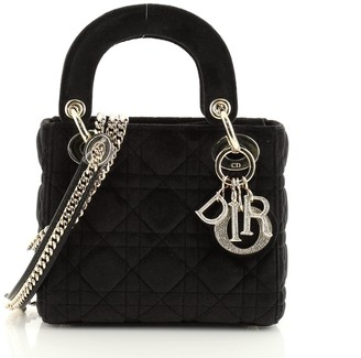 Christian Dior Lady Chain Bag Cannage Quilt Velvet with Crystal Charms Mini