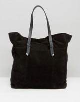 Pieces Large Suede Shoulder Bag