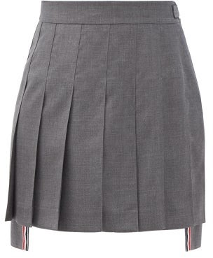 Thom Browne Pleated Dipped-hem Wool-fresco Midi Suit Skirt - Grey
