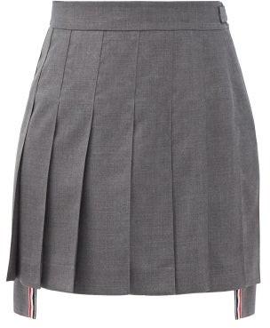 Thom Browne Pleated Dipped-hem Wool-fresco Mini Suit Skirt - Grey