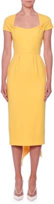 Stella McCartney Scarf-Back Cap-Sleeve Midi Sheath Ponte Dress