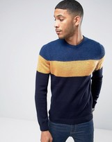 Benetton Color Block Sweater In Mohair