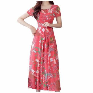 Qiran Ladies Dress Women Fashion Summer Grace Mid-Calf Short Sleeve Beach Printing Dress Fashion Bohemian Style Print Vintage Fashion Empire Skirt Retro Special Daily Blouse Red