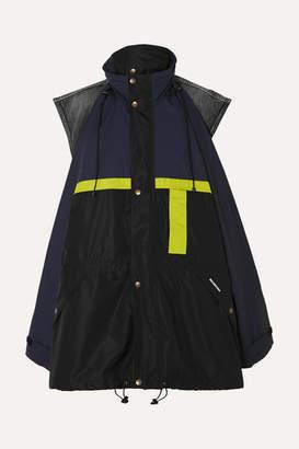 Balenciaga Oversized Layered Shell And Denim Jacket - Black