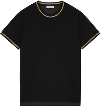 Moncler Black Striped Cotton And Shell T-shirt