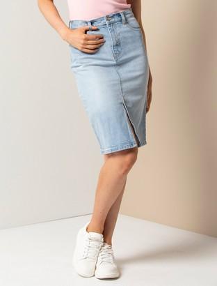 Forever New Lilly Petite Denim Pencil Skirt - Light wash - 12