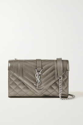 Saint Laurent Envelope Small Quilted Metallic Textured-leather Shoulder Bag - Gunmetal