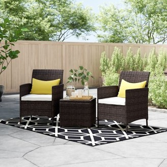 Zipcode Design Guion 3 Piece Rattan Seating Group with Cushions