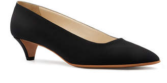 The Row Lady Crepe Point-Toe Kitten-Heel Pumps