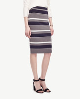 Ann Taylor Petite Navy Stripe Sweater Pencil Skirt