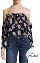 Lucca Couture Women's Floral Print Off Shoulder Crop Top