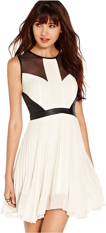 XOXO Juniors Dress, Sleeveless Pleated Faux-Leather-Trim