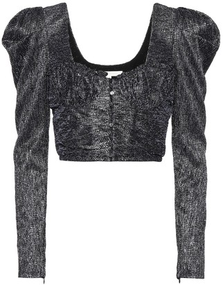 Jonathan Simkhai Metallic jacquard crop top