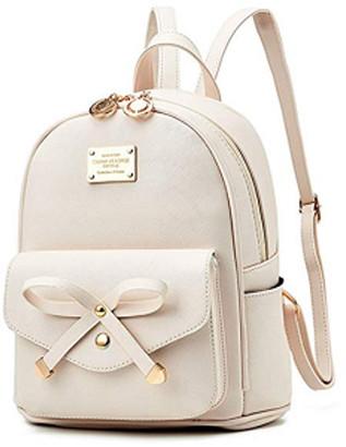 BEIGE Girls Bowknot Cute Faux Leather Backpack Mini Backpack Purse for Women,