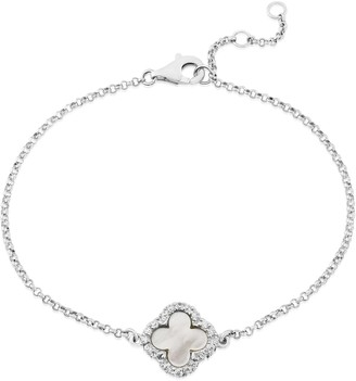 Mother of Pearl Auree Jewellery Irini Sterling Silver & Clover Bracelet