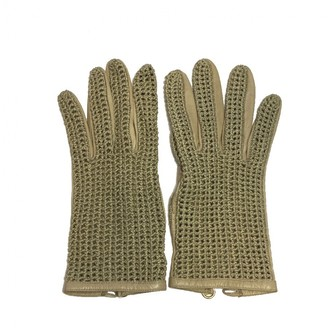 Chanel Beige Leather Gloves