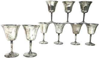 One Kings Lane Vintage 1950s Silverplate Wine Glasses - Set of 9 - Eat Drink Home