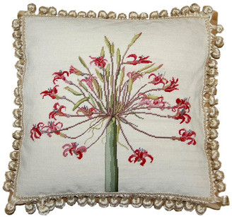 "Petit Point Hkh International Red Agapanthus Nature Background w/ Tassels Pillow, 18""x18"