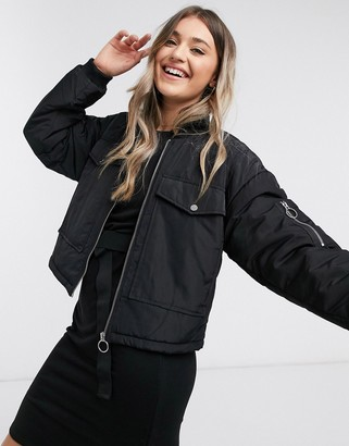 JDY pi padded bomber jacket with utility pocket in black