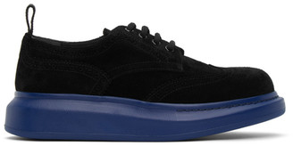 Alexander McQueen SSENSE Exclusive Black and Blue Hybrid Oversized Brogues