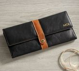 Pottery Barn Ainsley Leather Jewelry Roll - Cognac/Black