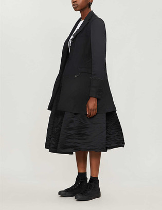 Black Comme Des Garcon Raw-trim notch-lapel oversized crepe jacket